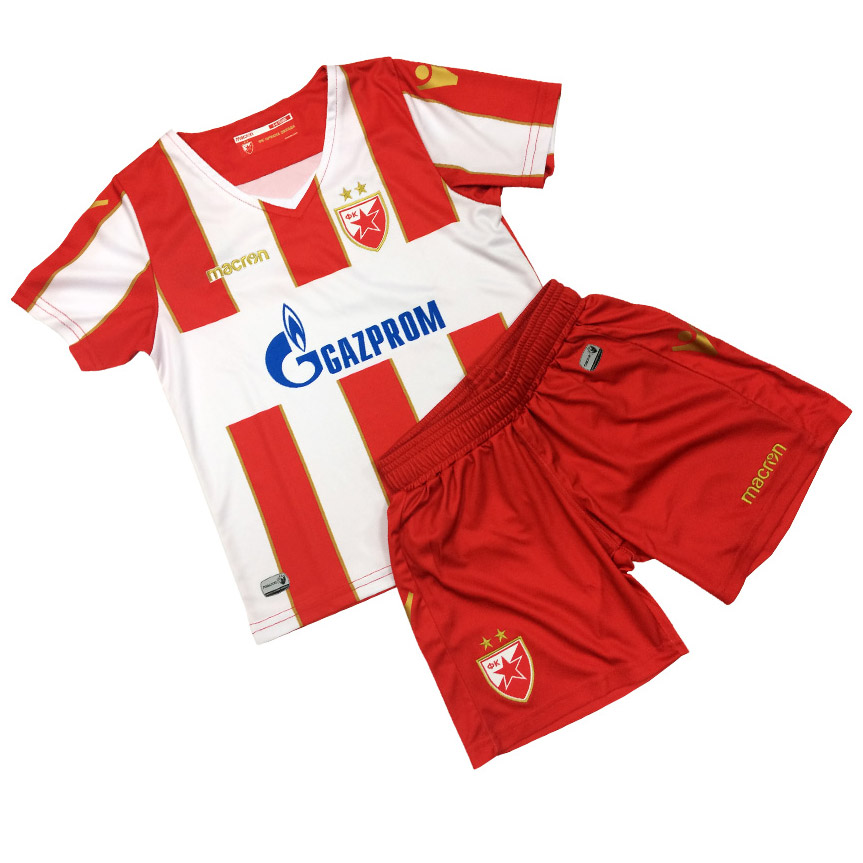 Macron kids kit red-white jersey and shorts 18 19. Move your mouse over the  image to zoom 990c43453