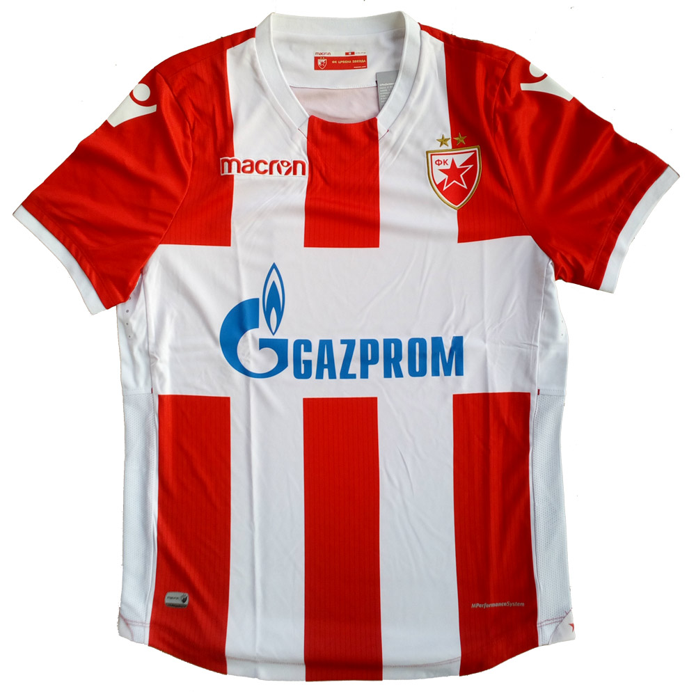 Macron red and white FC Red Star jersey 2017 18   Small Serbian Shop 2260fcbac
