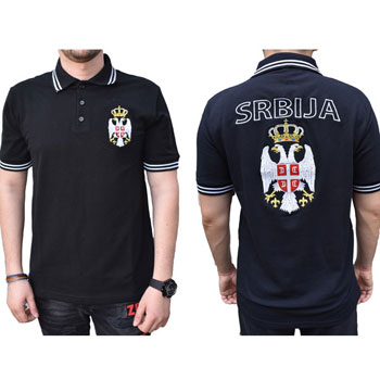 20e4c65a5 Polo T shirt Serbia with emblem in black color   Small Serbian Shop