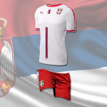 e5c143b160c Puma kit - Serbia white jersey and red shorts for World Cup 2018 ...